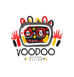 Kid s style voodoo magic logo original template vector