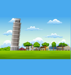 landscape background with pisa tow vector image