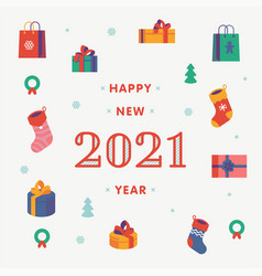 lovely happy new year 2021 minimalistic vector image