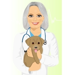 mature female veterinarian hugging cute little dog vector image