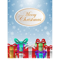 Merry Christmas holiday background with gift boxes vector image