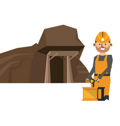 Mining cave and worker with detonator vector