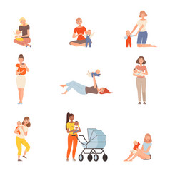 Mothers and kids characters people in a different vector