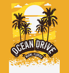 Ocean drive miami beach florida summer poster vector