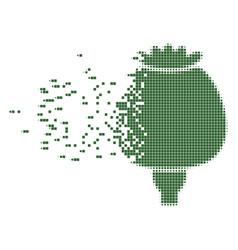 Opium poppy moving pixel icon vector