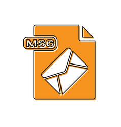 Orange msg file document download msg button icon vector