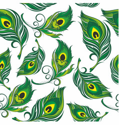 pattern with stylized peacock feather vector image