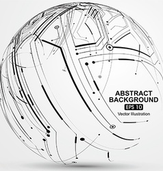 Point and line constructed the sphere wireframe vector image