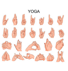 Position of the hands in yoga in meditation vector