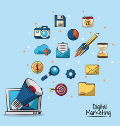 poster of digital marketing in blue background vector image