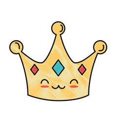 Queen crown kawaii character vector