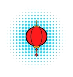 Red chinese lantern icon comics style vector image
