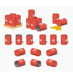 Red metal barrels with the fuel vector