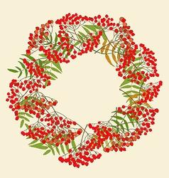 Red rowan wreath vector
