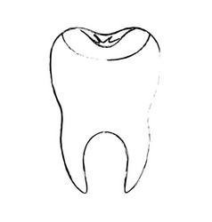 Restored tooth with root in monochrome blurred vector