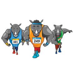 rhinos runners colored mascot logo premium vector image