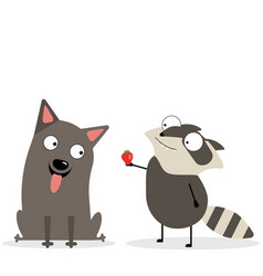 Russel terrier and raccoon dog and raccoon vector