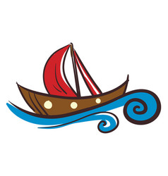 sailing boat in blue water or color vector image