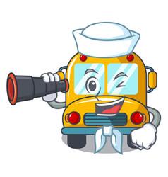 sailor with binocular school bus mascot cartoon vector image