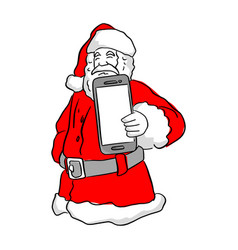 santa claus holding a mobile phone vector image