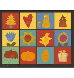 scrapbooking color characters calendar vector image