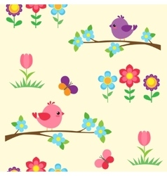 Seamless pattern with blooming branches vector image
