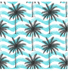 seamless pattern with palm trees and waves vector image