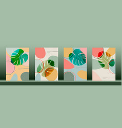 Set abstract leaf monstera wall arts template vector