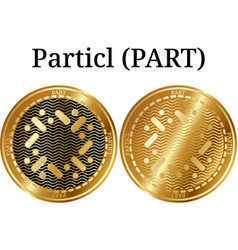 Set of physical golden coin particl part vector