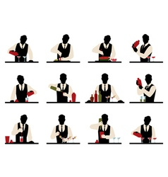 Set of silhouettes of a bartender vector