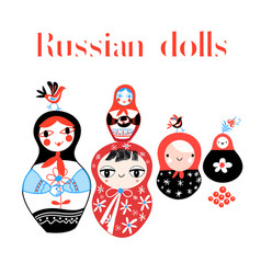 set russian dolls vector image