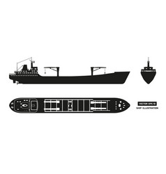 Silhouette of cargo ship on a white background vector