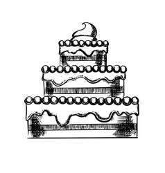 Sketch of a big pie with cream vector image