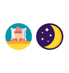 Sleep time set pajamas moon icon vector