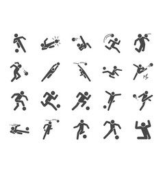 soccer in actions icon set vector image