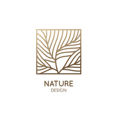 Square abstract tree emblem linear feather emblem vector