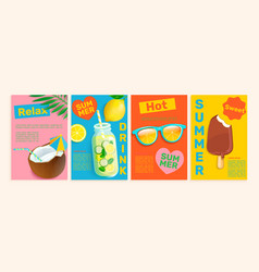 summer flyerscardsposters with hot season themes vector image