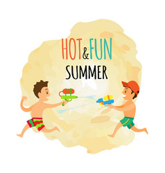 Summer isolated icon children with water guns vector