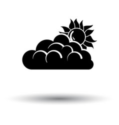 Sun behind clouds icon vector