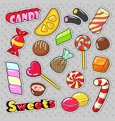 sweets food candies stickers patches badges vector image