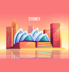 Sydney city with opera theater skyline australia vector