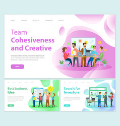 team cohesiveness and creativity of workers staff vector image