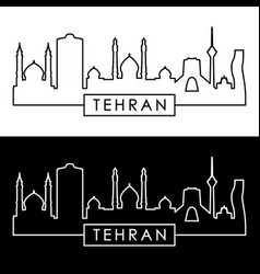 Tehran skyline linear style editable file vector
