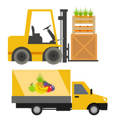 trucks loader shipping cars vehicles cargo vector image