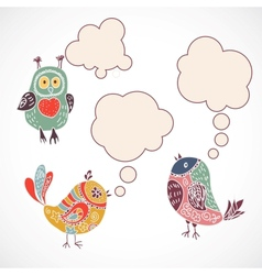 Vintage birds set with speech bubbles on white vector