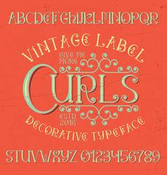 Vintage label curls poster vector