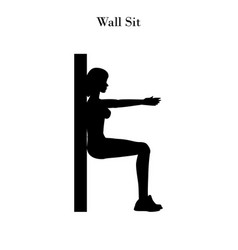 Wall sit workout silhouette vector