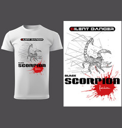 white t-shirt with abstract scorpion vector image