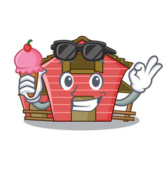 With ice cream a red barn house character cartoon vector