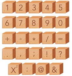 wooden number block font symbol vector image